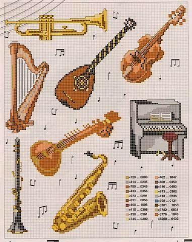 Schema punto croce Strumenti musicali Flauto - Piano - Sax   Hobby lavori femminili - ricamo - uncinetto - maglia