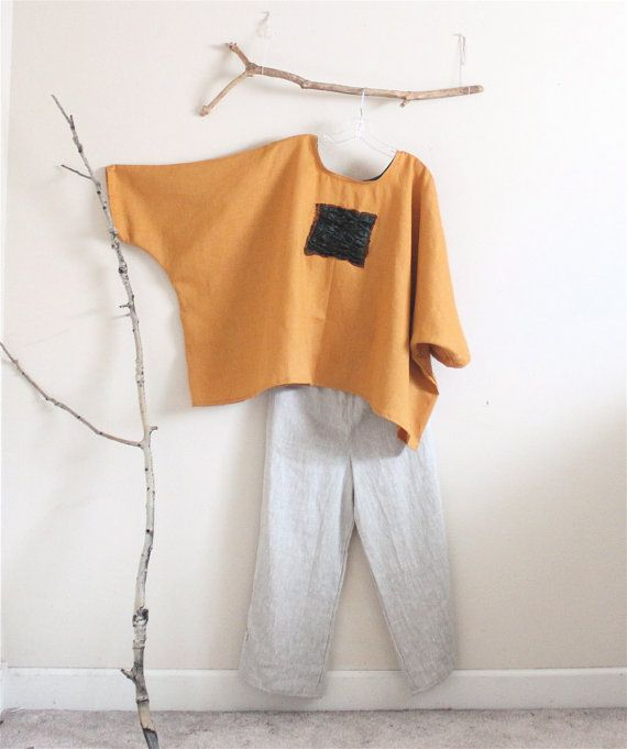 over size autumn gold linen top with by annyschooecoclothing