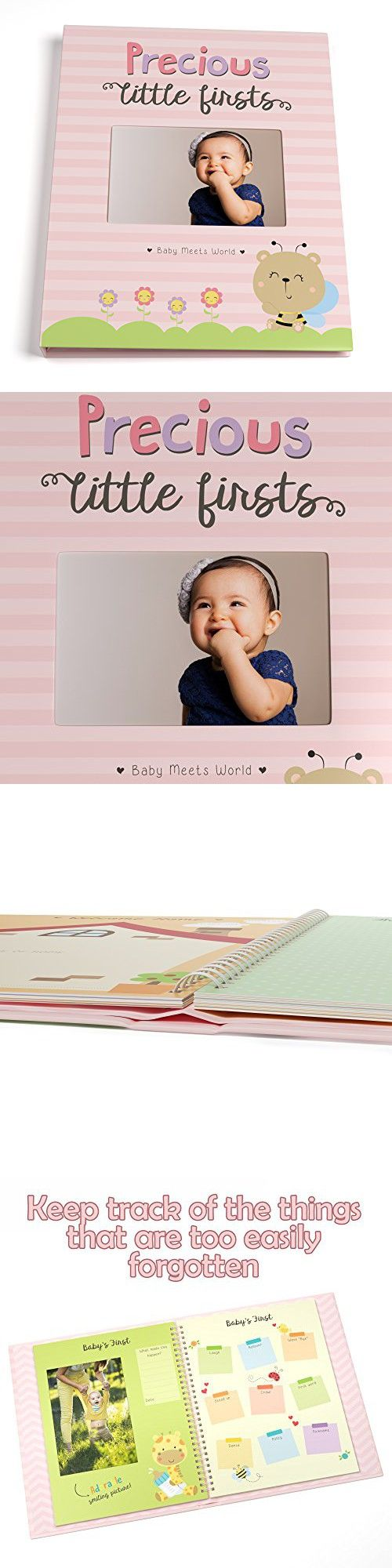 Baby Memory Book for Girls First Five Years, Record Your Child's Development in a Keepsake Journal, Modern Photo Album and Baby Shower Guestbook, 9 Inch x 11.5 Inch Cover