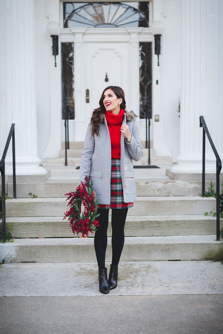 red turtleneck, plaid skirt,  j.crew parka, holiday outfit ideas, preppy holiday outfit ideas // grace wainwright from a southern drawl