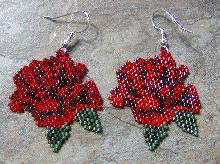 Rose Earrings Hand made Seed Beaded by wolflady on Etsy