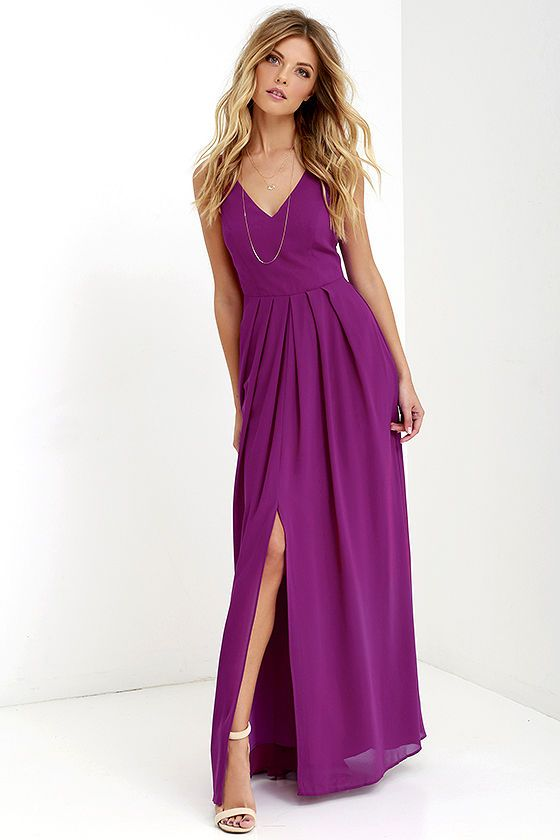 Look as refined as ever when you strut your stuff in the Show of Decorum Magenta Purple Maxi Dress! A modest triangle bodice is supported by wide, adjustable straps and tailored by princess seams along the woven fabric. Box pleats below the fitted waist introduce a sweeping maxi skirt with center slit. Hidden back zipper/clasp.