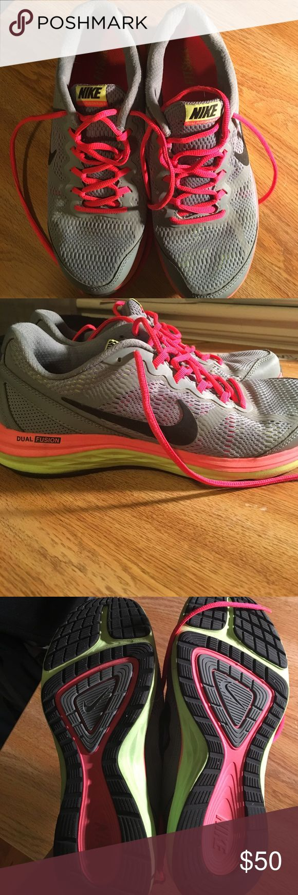 Nike Dual Fusion Run 3 Nike Dual Fusion Run 3; gray, pink, and lime green sneakers; gently worn, still in great shape!!; Offers encouraged!! Nike Shoes Athletic Shoes