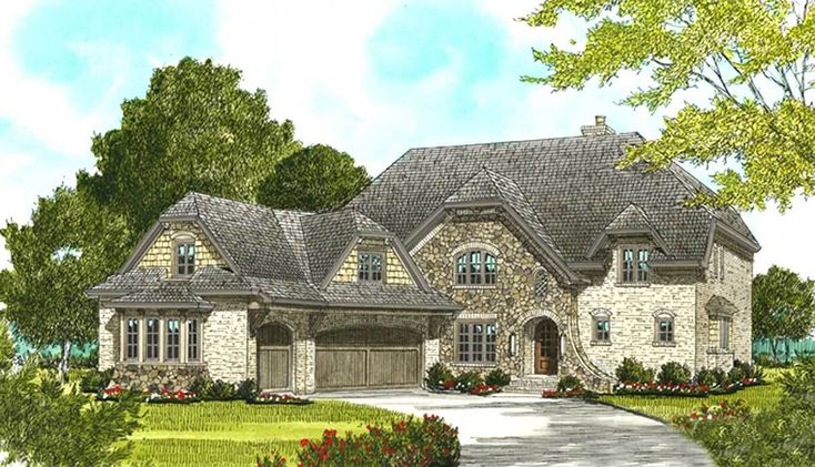European House Plan with Two Covered Terraces - 9309EL | Architectural Designs - House Plans