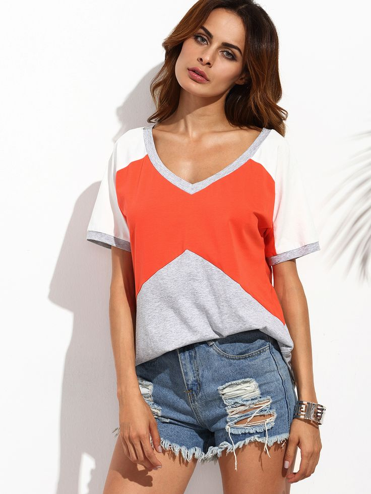 Shop Color Block V Neck Short Sleeve T-Shirt online. SheIn offers Color Block V Neck Short Sleeve T-Shirt & more to fit your fashionable needs.