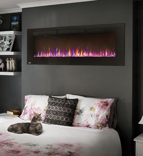"Napoleon Allure 60"" electric wall-mount #fireplace will keep the bedroom at a perfect temperature."