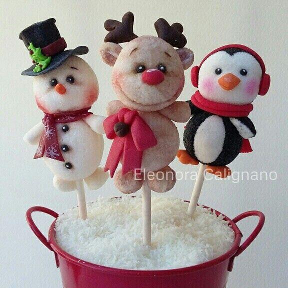 Pupazzo di Neve, Renna, Pinguino .....marshmallow pops
