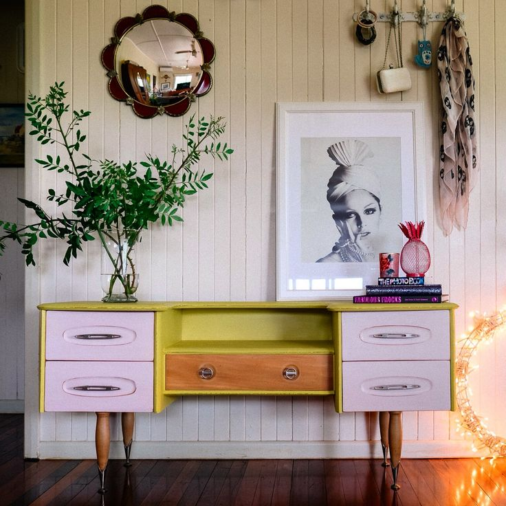 A gorgeous retro dressing table painted in Antoinette, Barcelona Orange and English Yellow Chalk Paint®