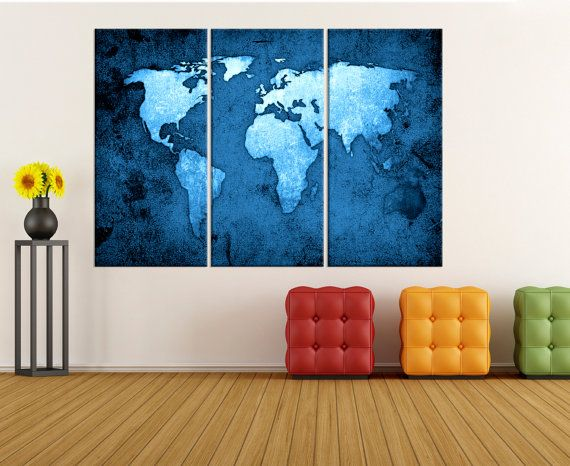 Large wall art for living room, blue world map canvas art, world map wall art canvas, Modern art, world map art print No:8S68