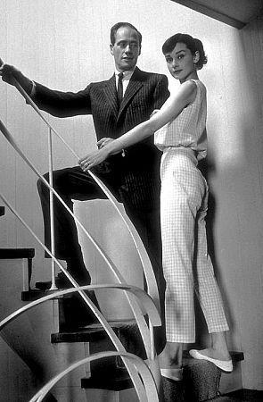 Audrey Hepburn & husband Mel Ferrer at their rented Malibu abode C. 1957