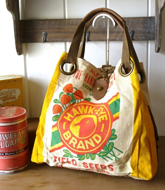 Vintage Seed Sack Bag By Selina Vaughan