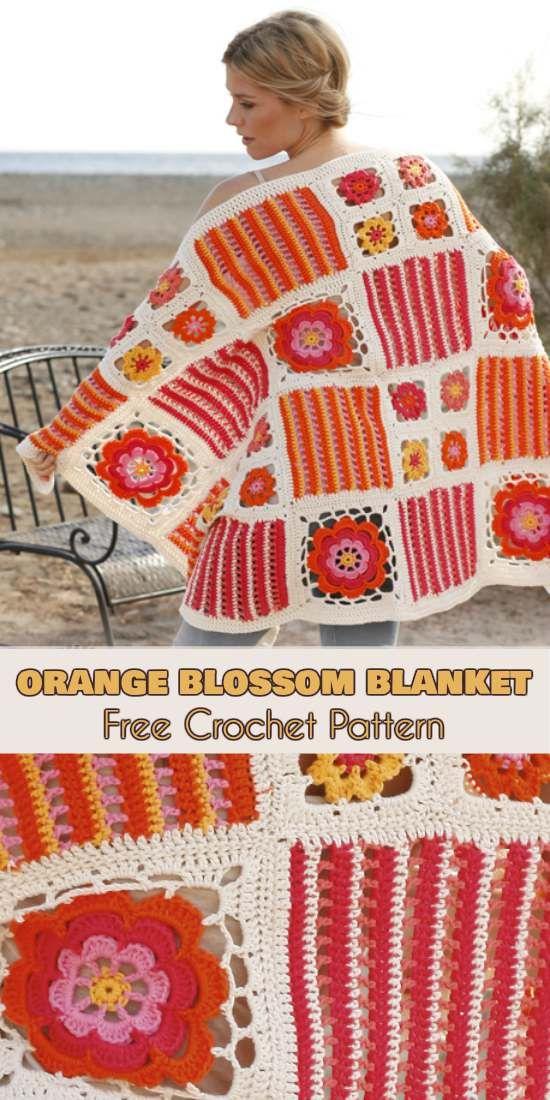 Orange Blossom Blanket [Free Crochet Pattern in PDF]