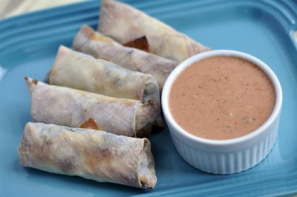 Baked Southwestern Egg Rolls with Spicy Ranch Dipping Sauce