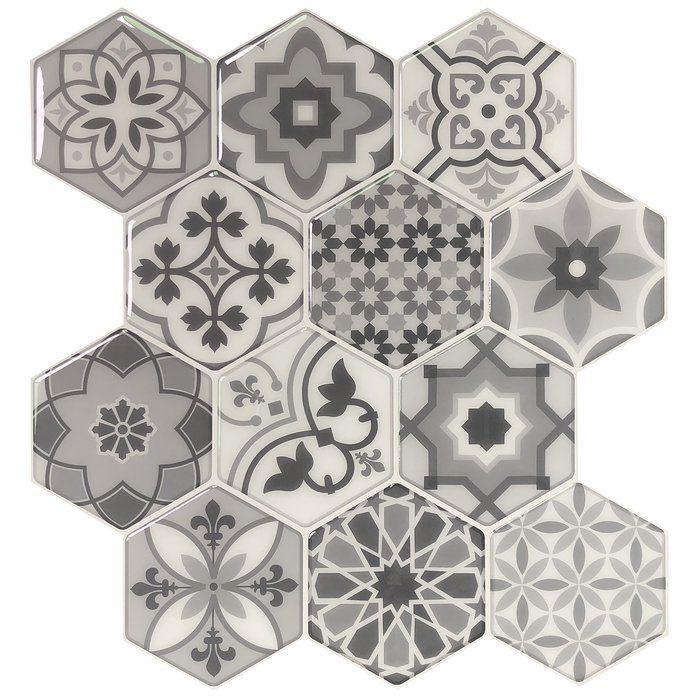 Carreau De Mosaique En Pvc Pvc Hexagonal 10 6 X 11 4 Gris En