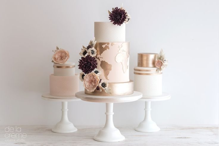 Cake Trio: A blush and rose gold wedding cake set by De la Crème Creative Studio