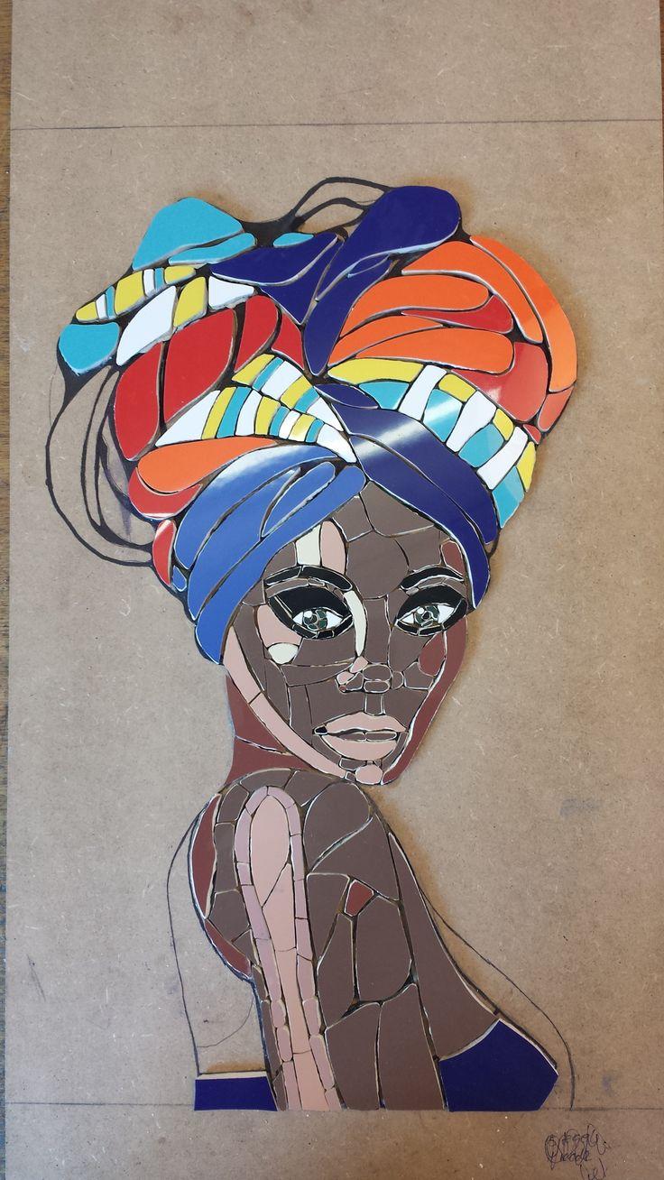 Baldosas Baño Negras:Painting African Woman Head Wrap
