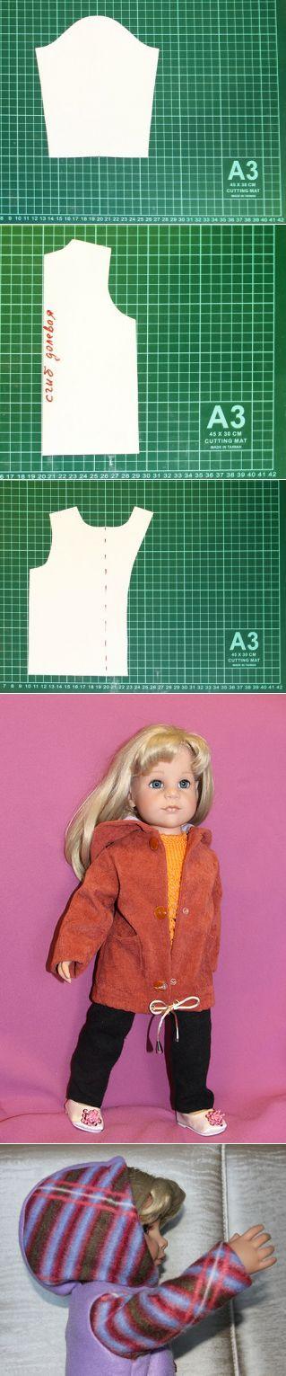 Выкройка тёплой куртки на подкладке для куколки ростом 50 см. Модель демонстрирует Ханна. / Мастер-классы, творческая мастерская: уроки, схемы, выкройки кукол, своими руками / Бэйбики. Куклы фото. Одежда для кукол