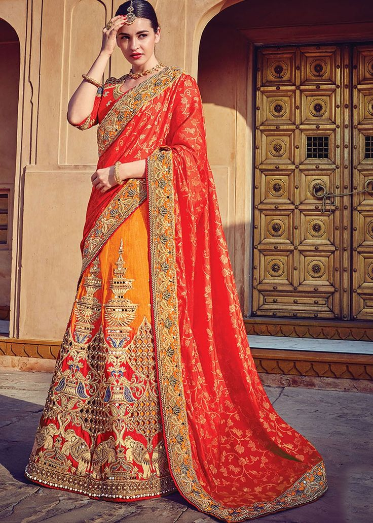 #Red And Orange# Lehenga Style Saree With Blouse