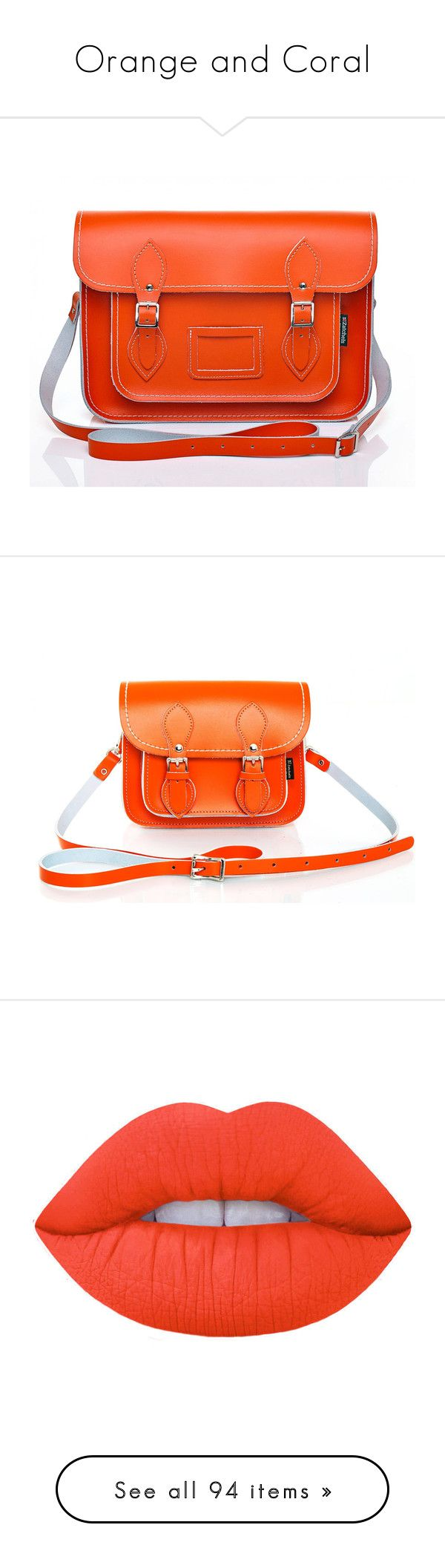 """Orange and Coral"" by velvetvolcano on Polyvore featuring bags, handbags, leather handbags, orange satchel handbag, handbag satchel, real leather handbags, leather purses, genuine leather purse, satchel handbags and orange leather handbag"