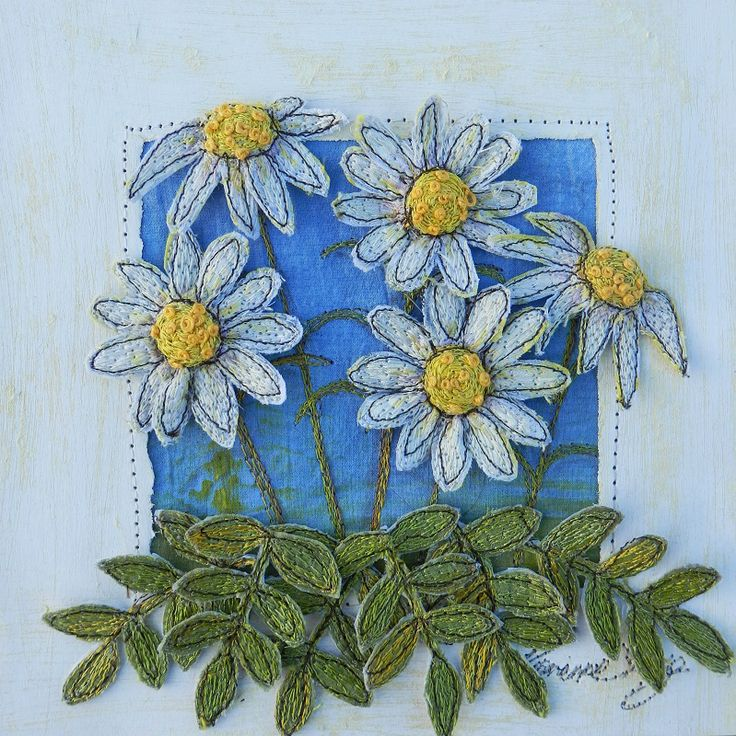 The Garden Room - Ox-Eye Daisies. Embroidered Assemblage by Corinne Young