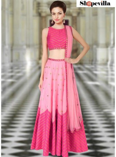 New Trendy Pink Color Sleeveless Lehenga-FKFBL058