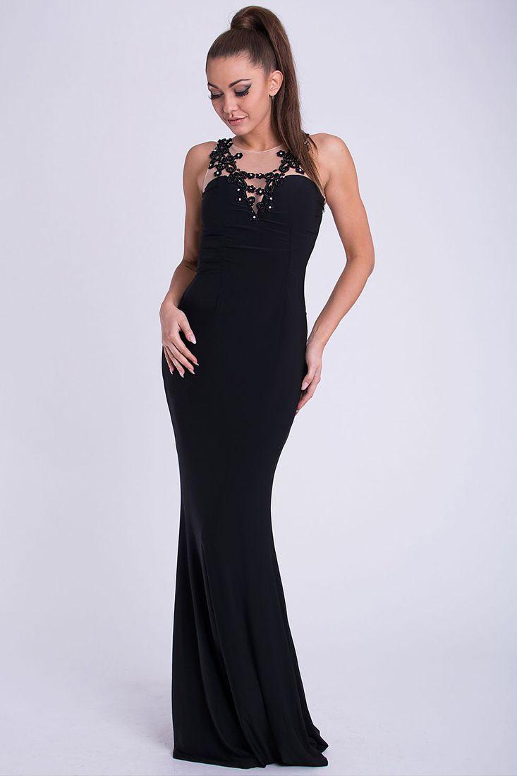 Black Studded Evening Dress -  Elegant Evening Dresses Online.