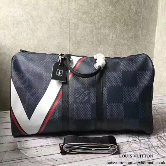 8ca6e9c23434 Louis Vuitton N44010 Keepall 55 Bandouliere Duffel Bag Damier Cobalt Canvas   Louisvuittonhandbags