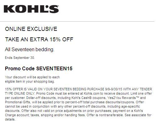 Kohls coupons and codes