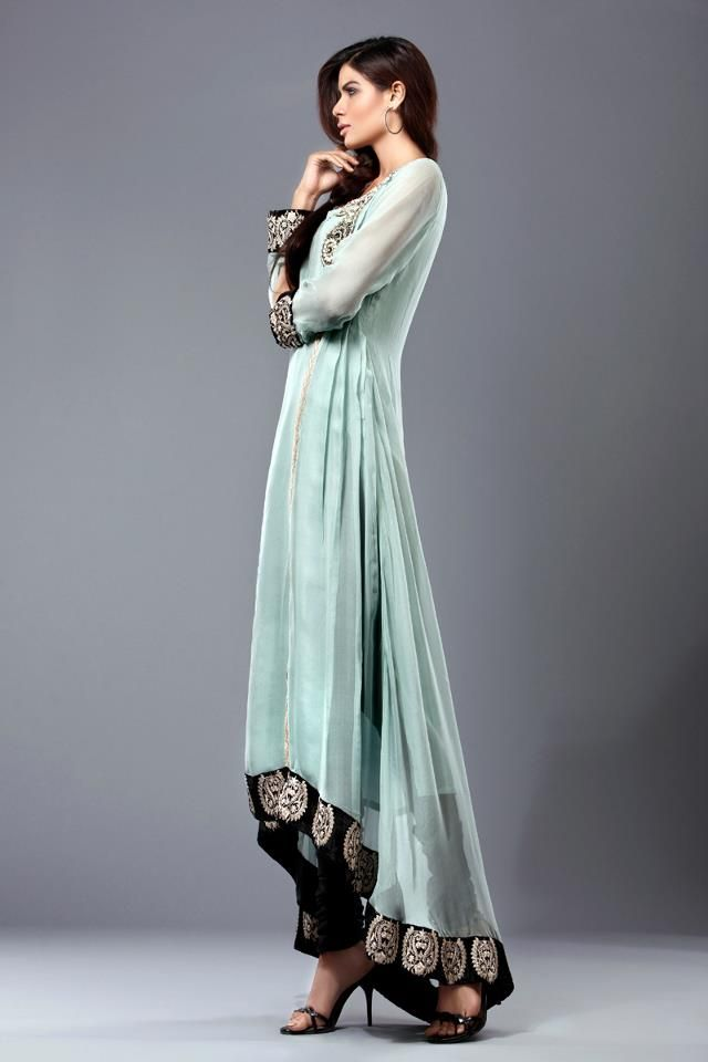 beautiful light green and black Pakistani ensemble