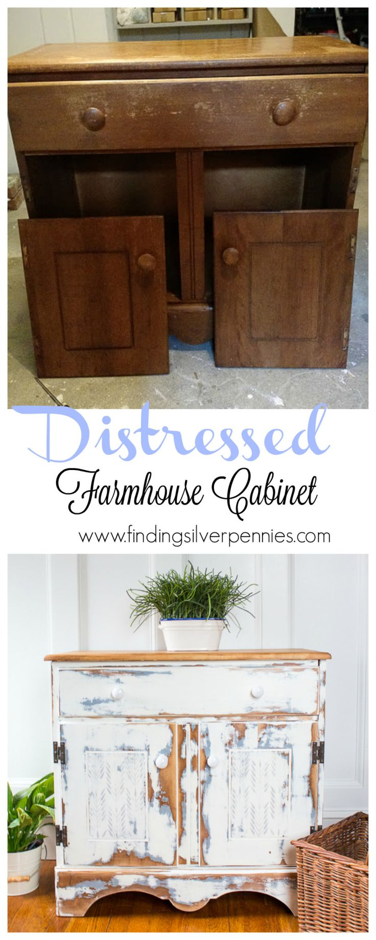 A Heavily Distressed Farmhouse Cabinet