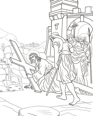Third Station - Jesus Falls the First Time Coloring page