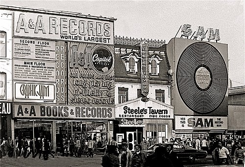 Sam the Record Man on Yonge Street, Toronto, circa 1970.