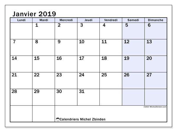 Calendrier A Imprimer Janvier 2019.Calendrier Janvier 2019 57ld Calendrier A Imprimer