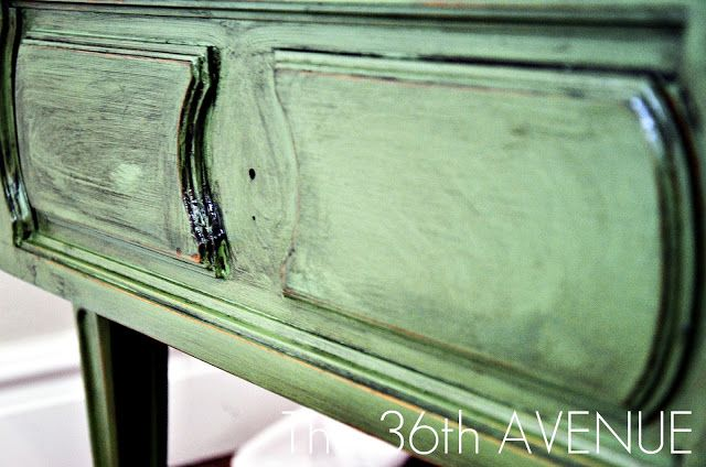 The 36th AVENUE | How to Antique Furniture | The 36th AVENUE After the sanding was done I used Valspar Antiquing Glaze and with a rag I  cover the table with it.