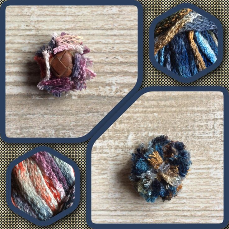 Lapel flower Wooly en Wooly button. Warme kleurtjes herfst en winter collectie. Handmade. www.madebyj.nl