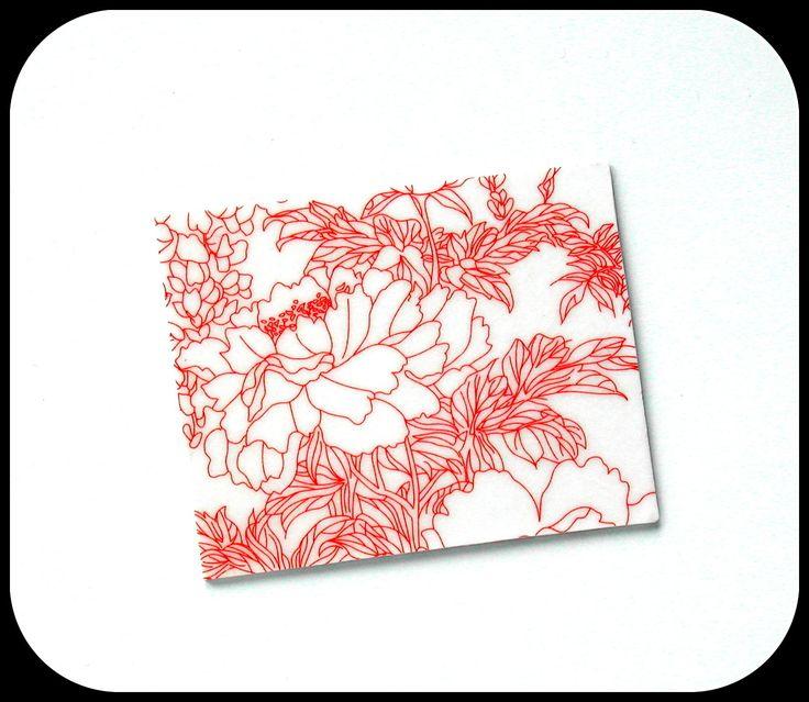 Broche rectangulaire motifs japonais,peinture japonaise couleur rouille ,carton bois rigide glassifié/www.alittlemarket.com/boutique/boucles-d-oreilles-originales-insolites : Broche par boucles-d-oreilles-originales-insolites