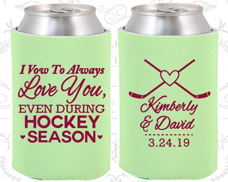 I Vow to Always Love You, Even During Hockey Season, Unique Wedding, Hockey Wedding, Sports Wedding,  Custom Koozies  (306)