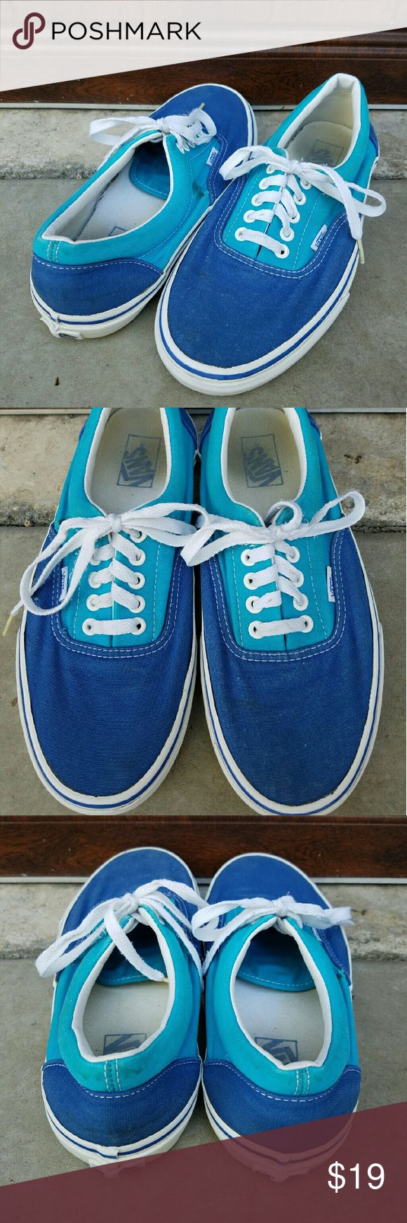 Cute Blue Vans These blue Vans were hardly worn. They have some staining on the back heels, a small black stain & small tear on the right shoe but not all that noticeable. There's also minimal pulling of the rubber away from the canvas but the soles are in great condition. Vans Shoes Sneakers