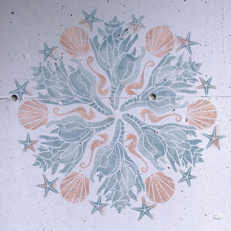 Seashells Medallion Stencil - Medallion Stencil - Furniture Stencil - Wall Painting Stencils