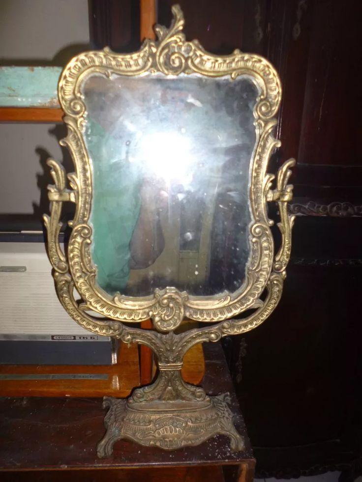 antiguo espejo movil de bronce labrado