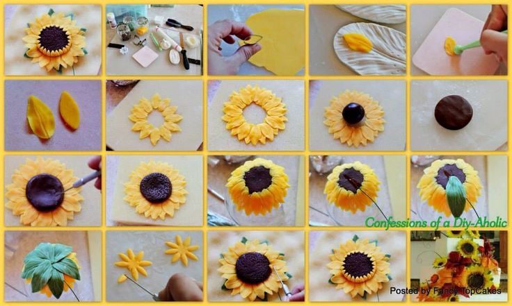 Fondant Sunflower Tutorial Cakes Tutorials Pinterest