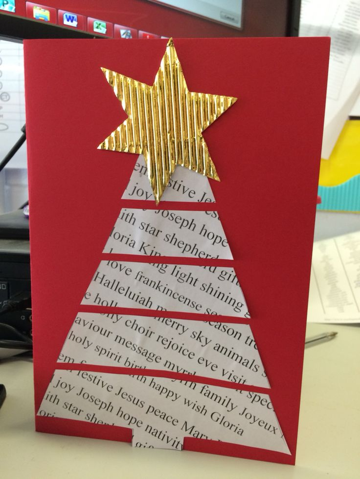 Nativity themed Christmas tree card. Cut a triangle from an A4 page, printed with Christmas words.  Cut into thick strips then glue onto coloured card. To finish, stick a large correlated card star on top. Really simple and effective!  I made this with my class of 6-year olds and they loved it.
