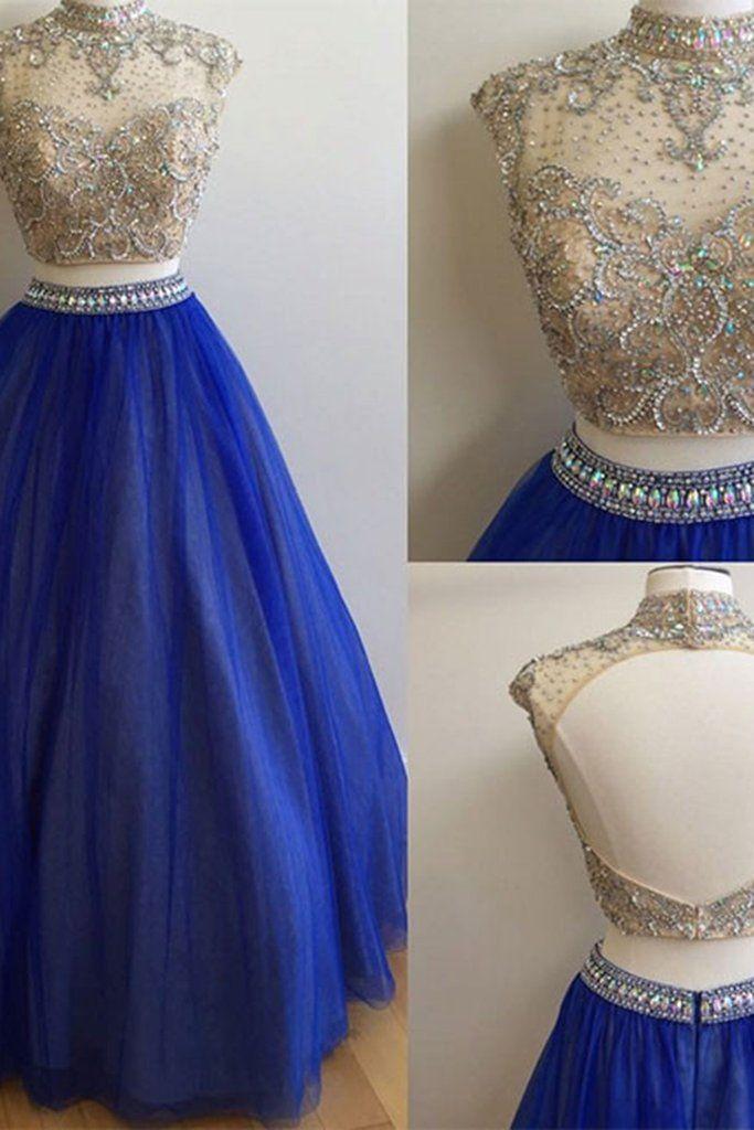 Navy blue tulle two pieces high neck lace applique sequins A-line long dress,graduation dresses