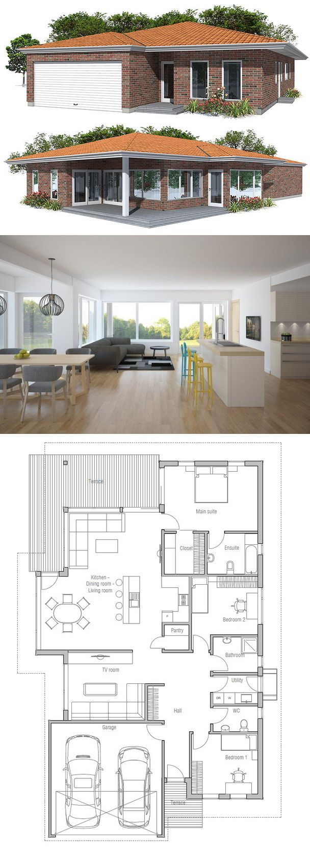 Smaller, more minimal. Might even eliminate the TV room to open the plan more.
