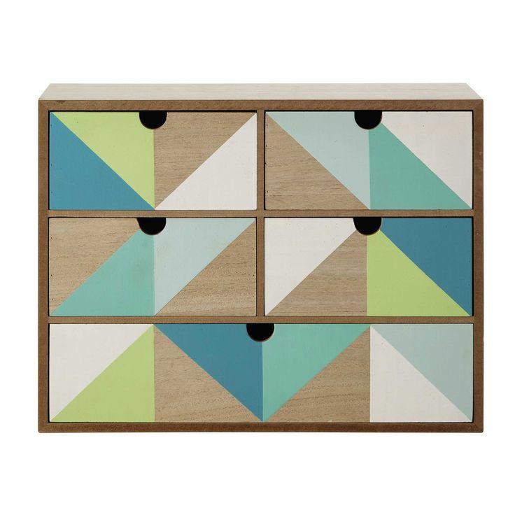 Caja con 5 cajones verde/azul 30 x 40 cm LÉO