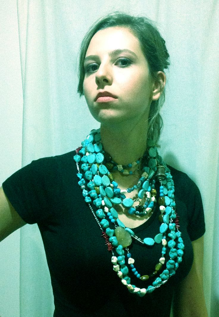 Long neck = lots of necklaces.  all my creations various designs
