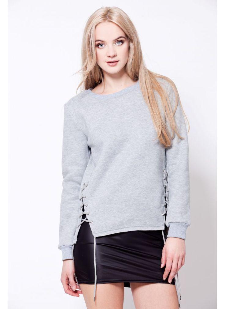 BLUZA SZNUROWANA SZARA I SWEATER LACE UP GREY I  MONASHE.PL - Sklep online z modną odzieżą. Bluzki, sukienki, torebki, obuwie, akcesoria.