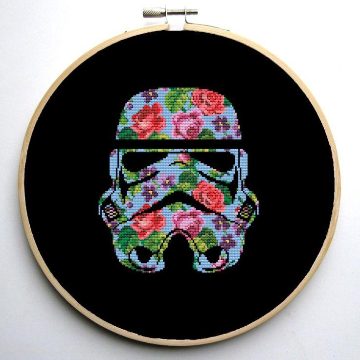 Star Wars Cross Stitch pattern Floral Stormtrooper   Craftsy