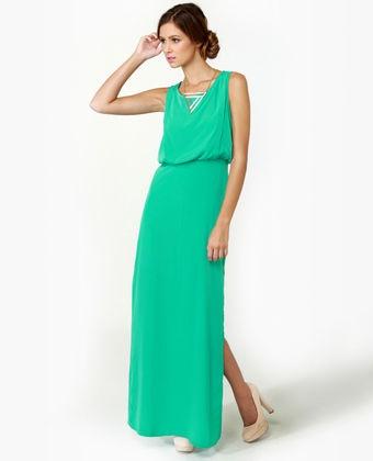 LuLu*s Whatchama-Column Teal Maxi Dress $49