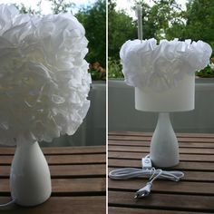 DIY, Flower, Blumen, Lamp, Lampe, Selber machen What you need:a lamp (Tchibo 10€), all-purpose glue, creped paper and scissors